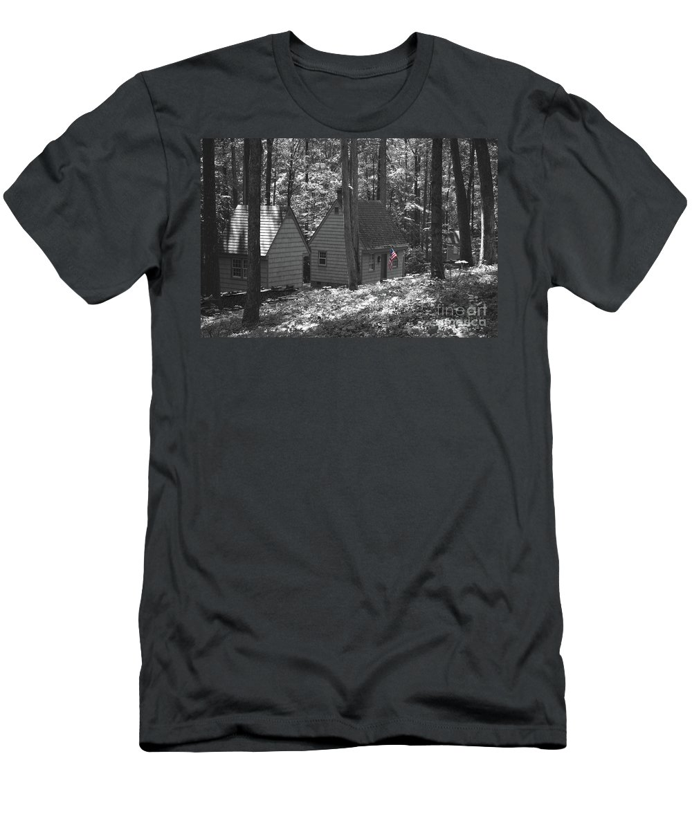 Little Men's T-Shirt (Athletic Fit) featuring the photograph American Little House In The Woods by Jost Houk