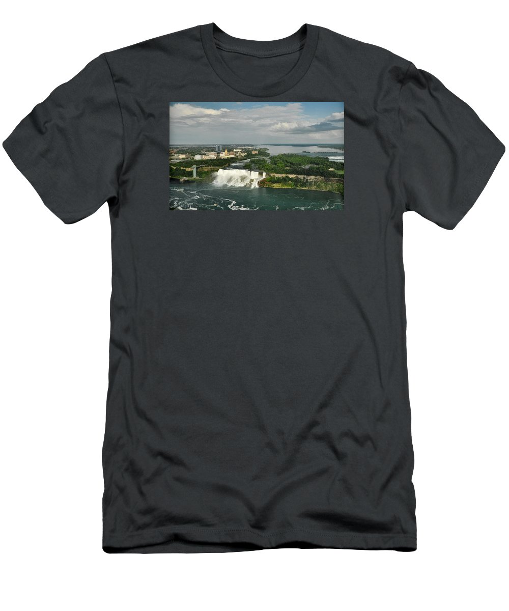 American Niagara Falls Men's T-Shirt (Athletic Fit) featuring the photograph American Niagara Falls #2 by Ginger Wakem