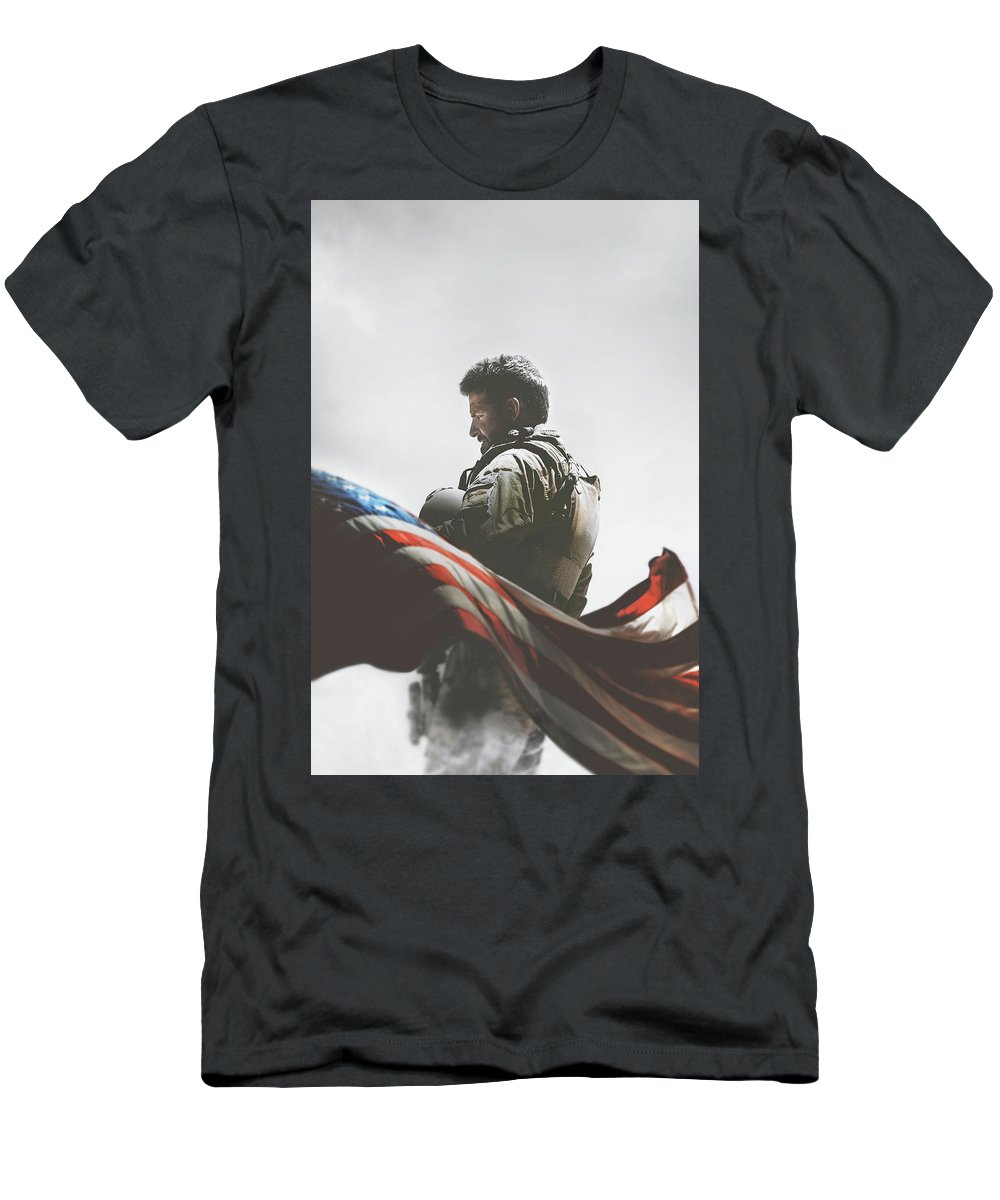American Sniper 2014 Men's T-Shirt (Athletic Fit) featuring the digital art American Sniper 2014 by Geek N Rock