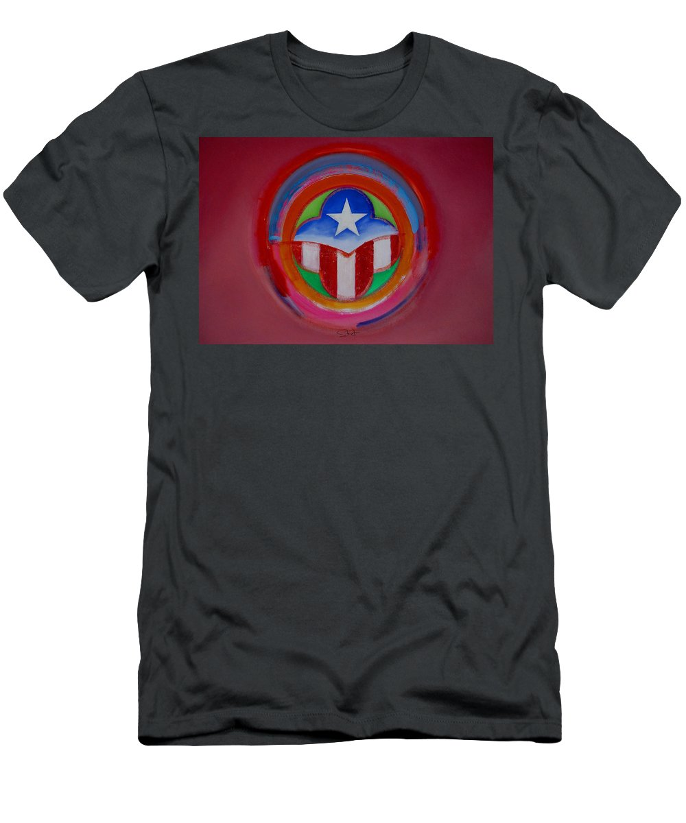 Button Men's T-Shirt (Athletic Fit) featuring the painting American Star Button by Charles Stuart