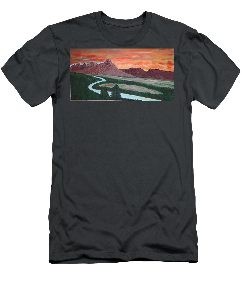 Landscape T-Shirt featuring the painting American Valley by Marco Morales