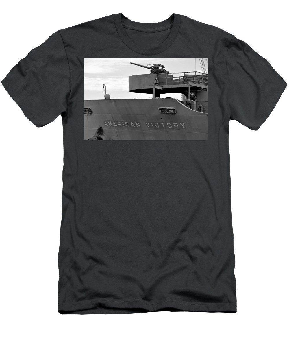Victory Ship Men's T-Shirt (Athletic Fit) featuring the photograph American Victory Ship by David Lee Thompson