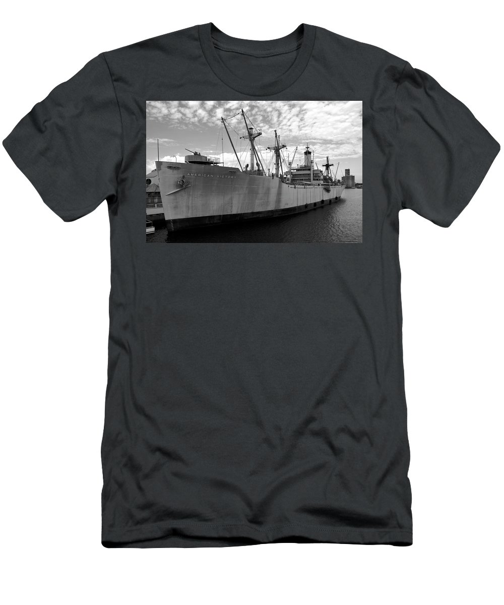 Fine Art Photography Men's T-Shirt (Athletic Fit) featuring the photograph American Victory Ship Tampa Bay by David Lee Thompson