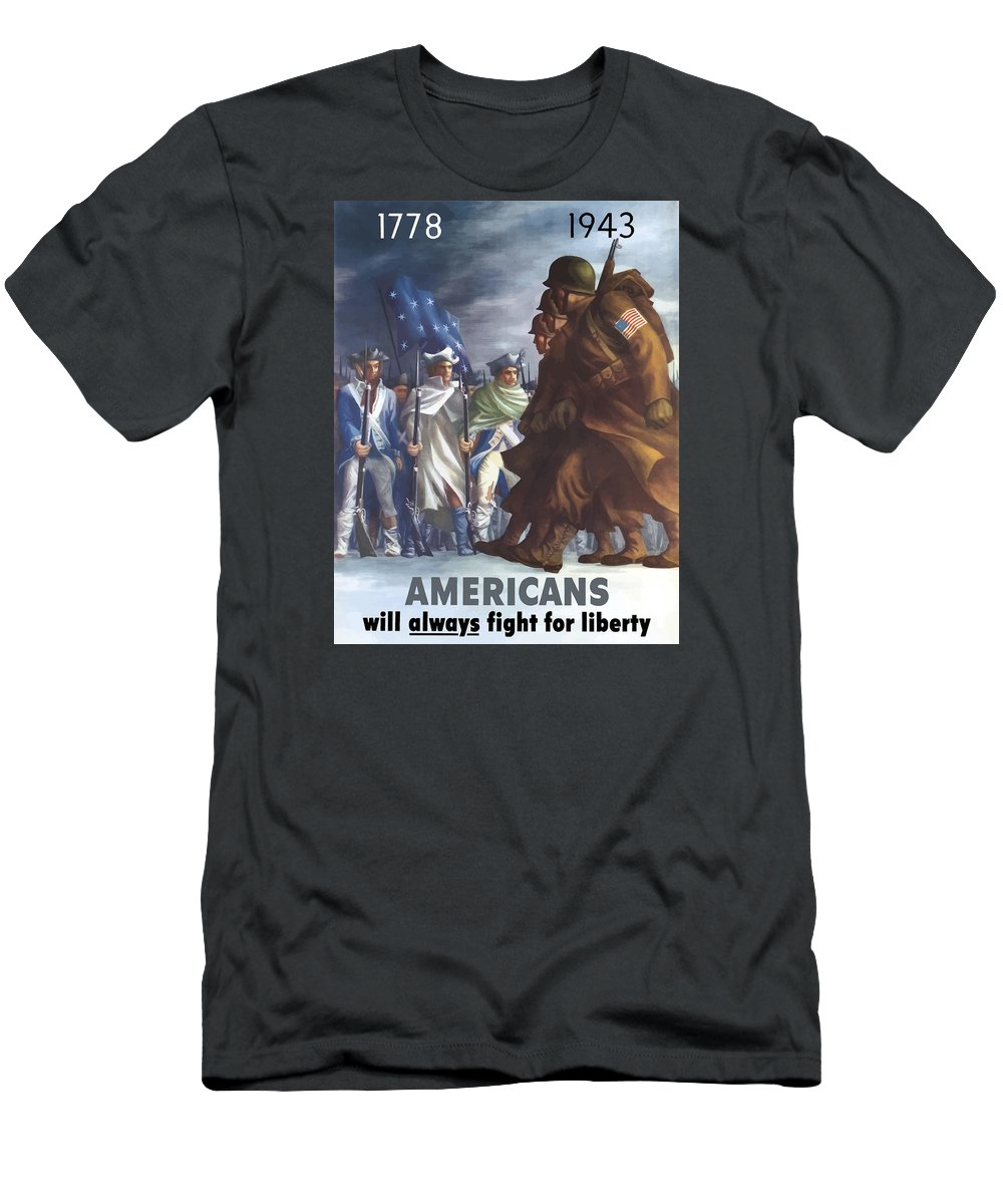Propaganda Men's T-Shirt (Athletic Fit) featuring the painting Americans Will Always Fight For Liberty by War Is Hell Store