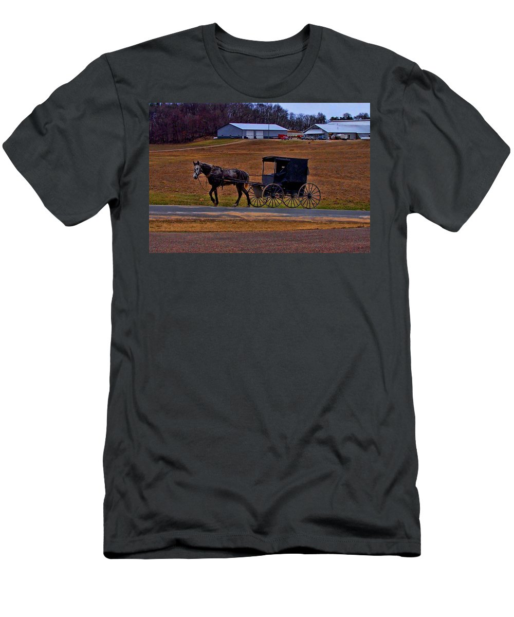 Wisconsin Men's T-Shirt (Athletic Fit) featuring the photograph Amish Buggy by Tommy Anderson