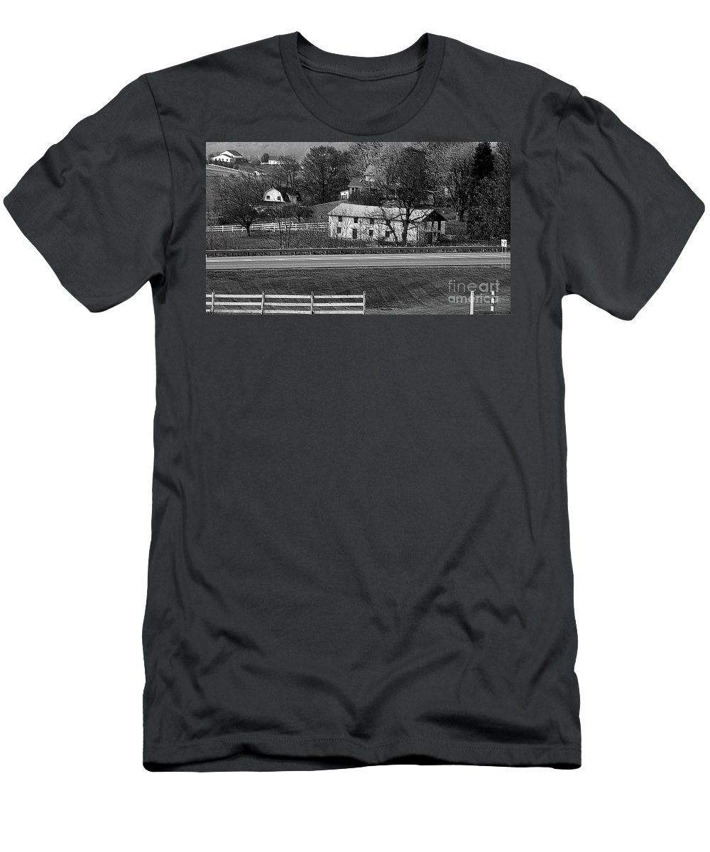 Amish Men's T-Shirt (Athletic Fit) featuring the photograph Amish Farm by Kathleen Struckle