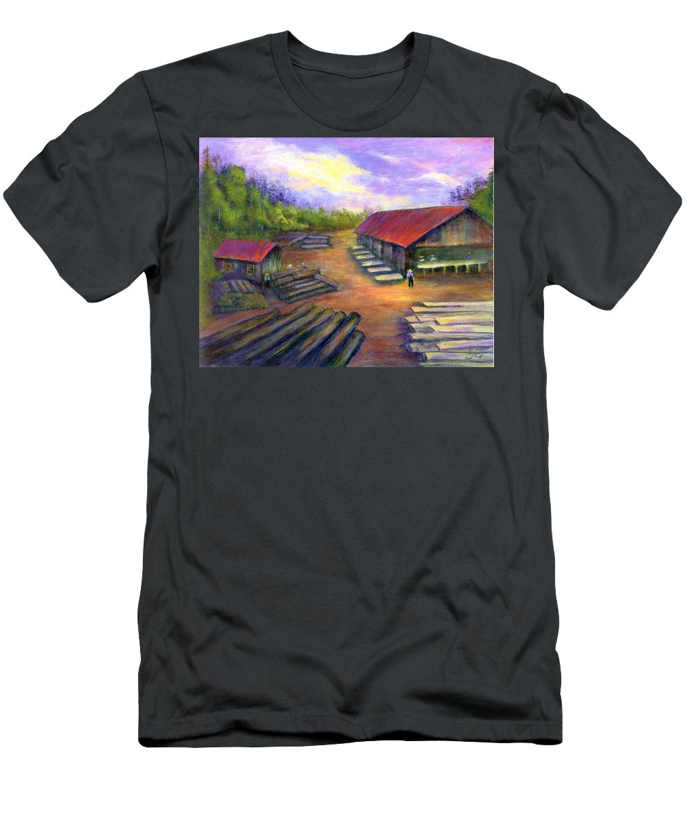 Amish Men's T-Shirt (Athletic Fit) featuring the painting Amish Lumbermill by Gail Kirtz