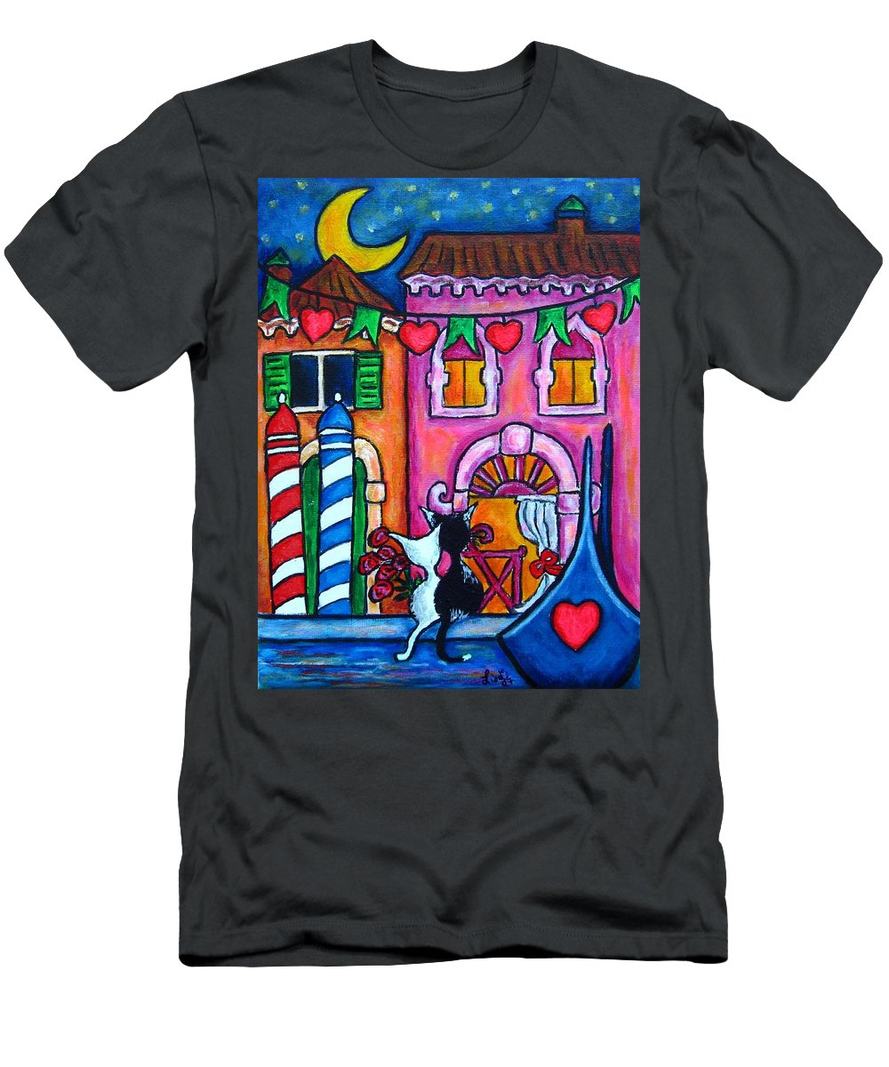 Cats Men's T-Shirt (Athletic Fit) featuring the painting Amore In Venice by Lisa Lorenz