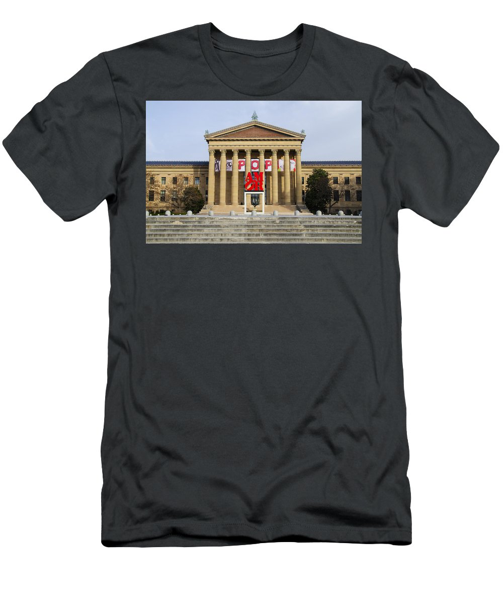 Amore Men's T-Shirt (Athletic Fit) featuring the photograph Amore - The Philadelphia Museum Of Art by Bill Cannon