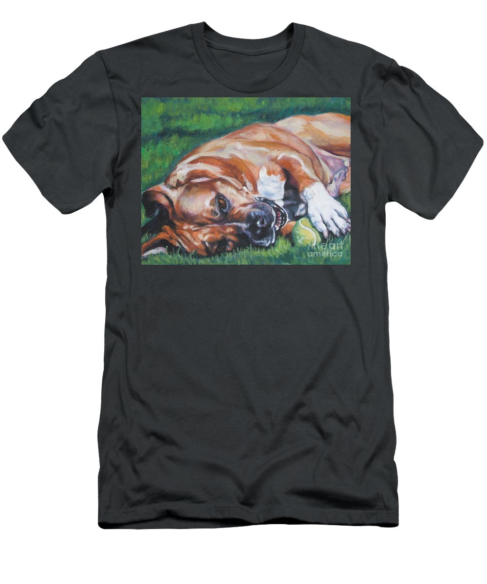 Dog Men's T-Shirt (Athletic Fit) featuring the painting Amstaff With Ball by Lee Ann Shepard