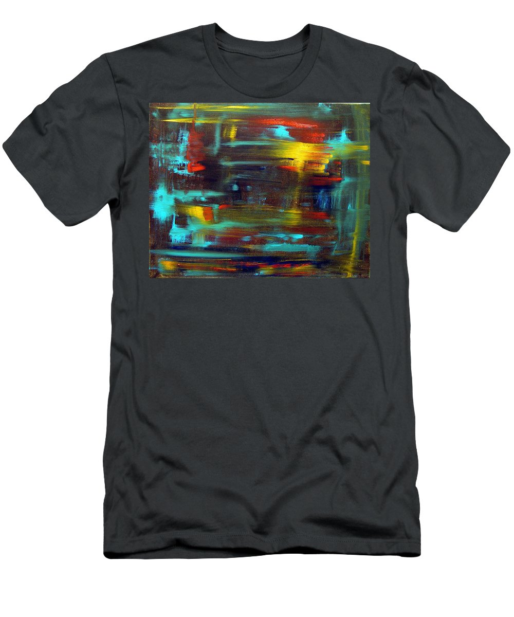 Red Blue Yellow Gold Brown Cad Orange Eyes Obama Oscar  Face Thought Emotions Men's T-Shirt (Athletic Fit) featuring the painting An Abstract Thought by Jack Diamond