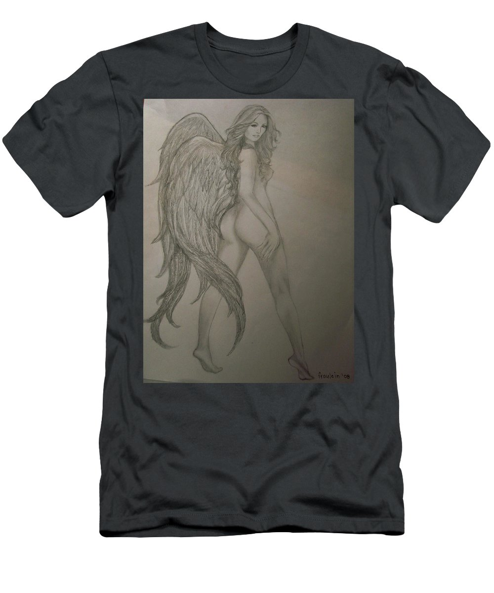 Angel Men's T-Shirt (Athletic Fit) featuring the drawing An Angel by Glory Fraulein Wolfe