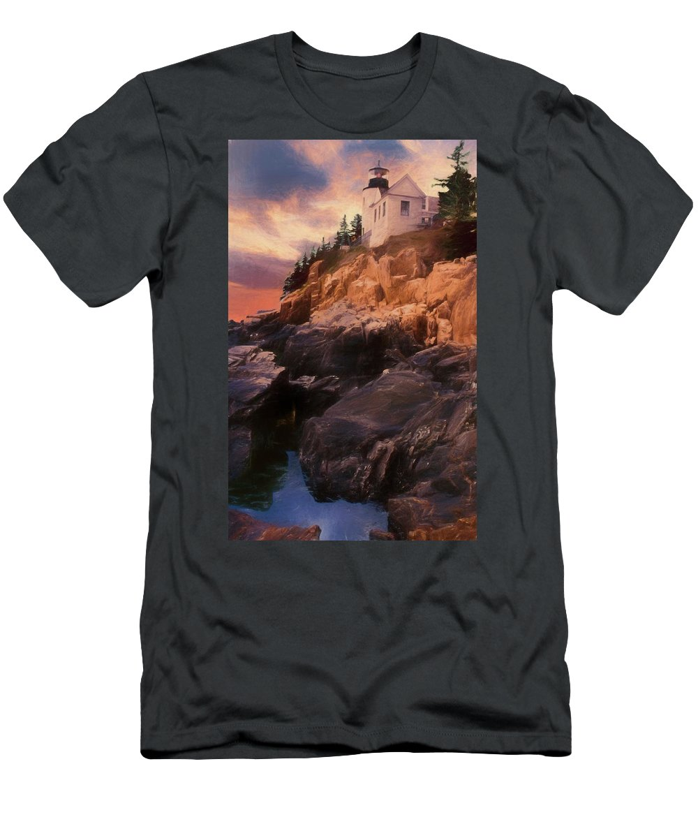 Acadia Nat. Park Men's T-Shirt (Athletic Fit) featuring the photograph An Art Photograph Of Bass Harbor Lighthouse,acadia Nat. Park Ma by Rusty R Smith