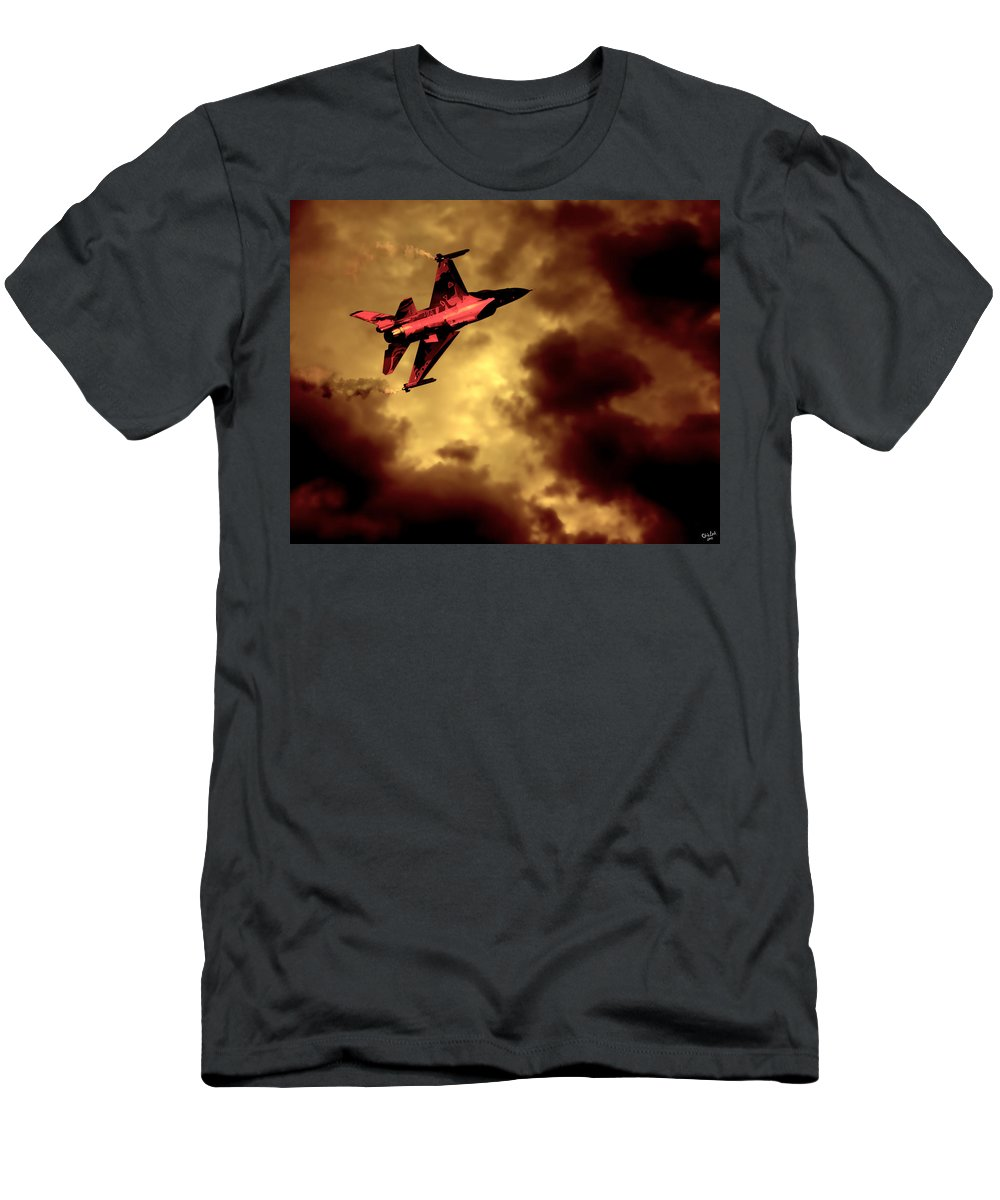 F-16 Men's T-Shirt (Athletic Fit) featuring the photograph An F-16 Flies Through Hell by Chris Lord