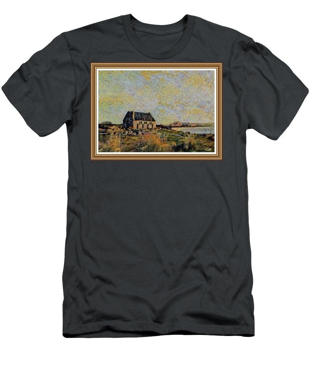 Amsterdam Men's T-Shirt (Athletic Fit) featuring the digital art An Old Scottish Cottage Overlooking A Loch L A S With Decorative Ornate Printed Frame. by Gert J Rheeders