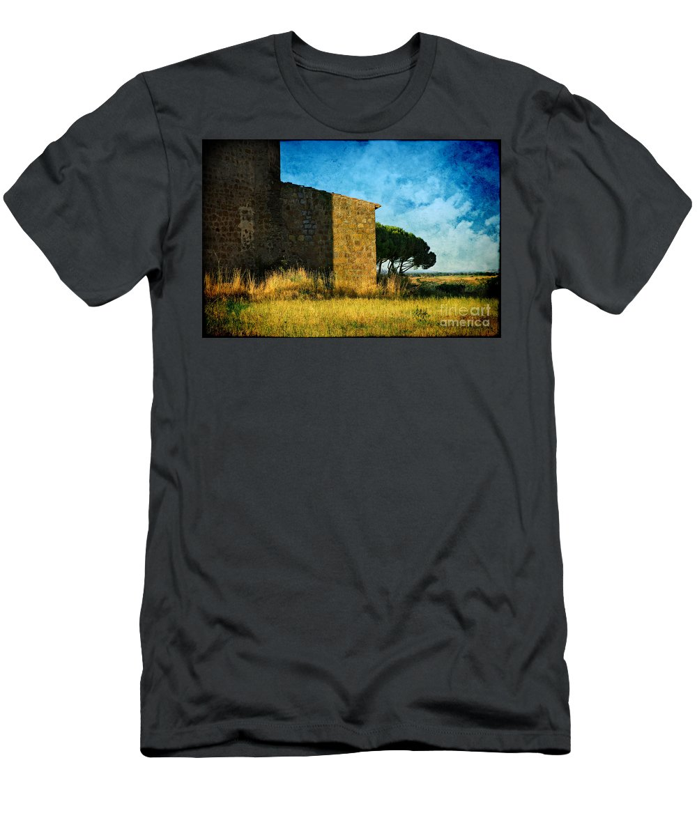 Ancient Men's T-Shirt (Athletic Fit) featuring the photograph Ancient Church - Italy by Silvia Ganora