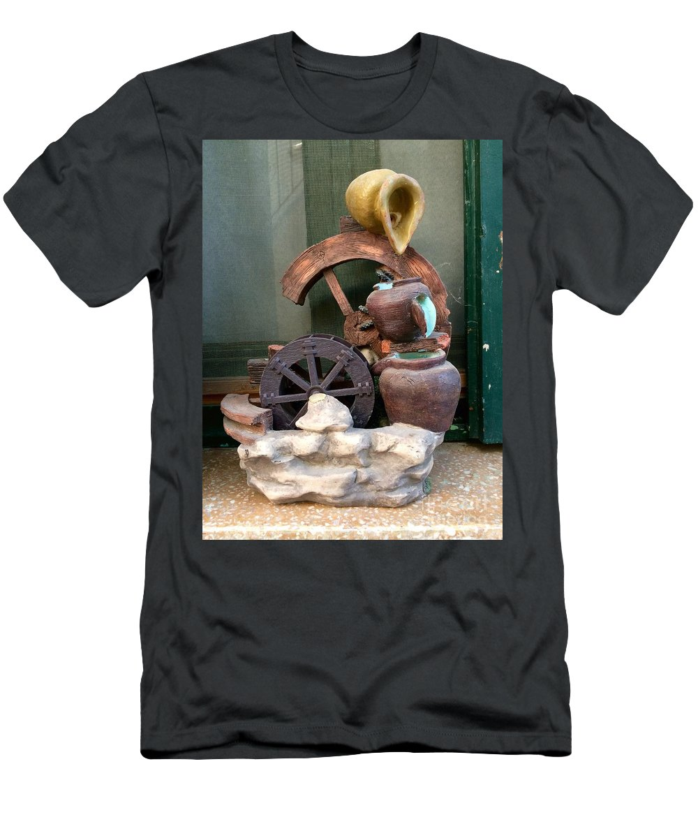Ancient Water Mill Men's T-Shirt (Athletic Fit) featuring the digital art Model Of Ancient Water Mill In Greece by Viktoriya Sirris