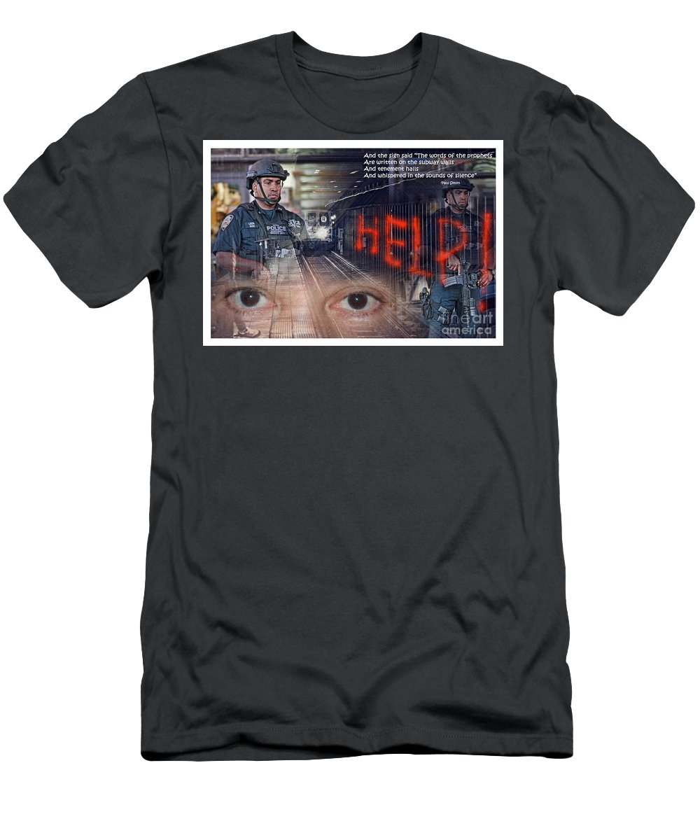 Jim Fitzpatrick Men's T-Shirt (Athletic Fit) featuring the photograph And The Words Of The Prophets Are Written On The Subway Walls II by Jim Fitzpatrick