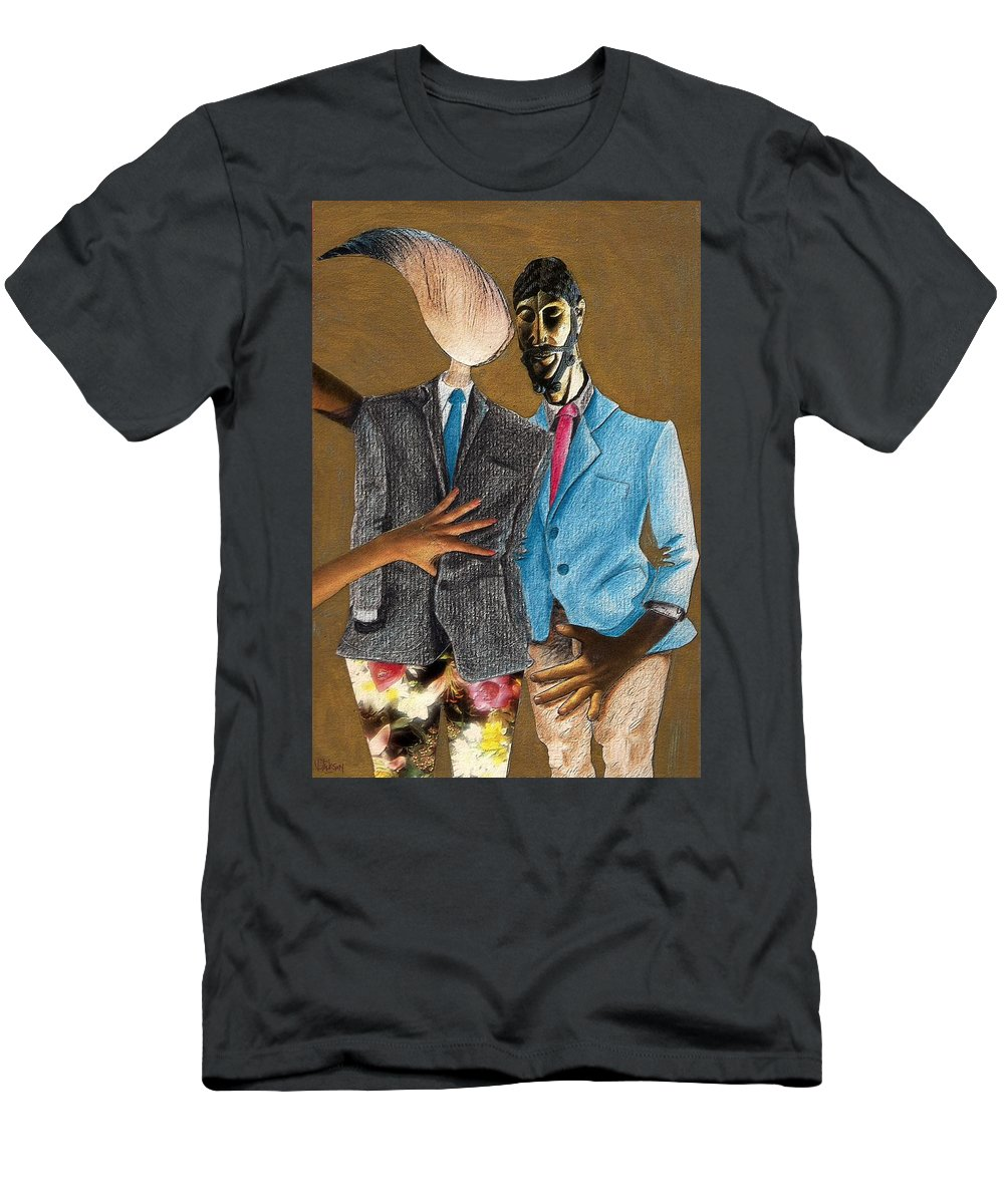 Sex Gay Androginality Couple Love Relation Men's T-Shirt (Athletic Fit) featuring the mixed media Androginality by Veronica Jackson