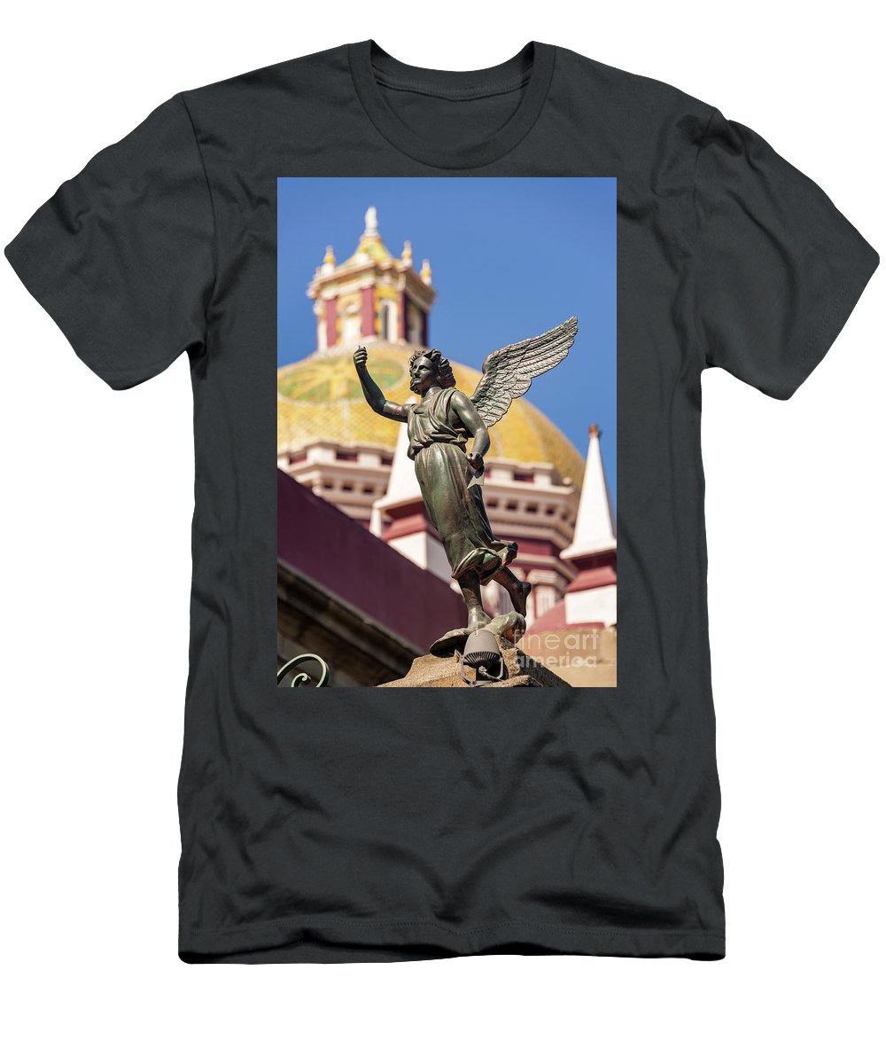 Puebla Men's T-Shirt (Athletic Fit) featuring the photograph Angel And Cathedral by Jess Kraft