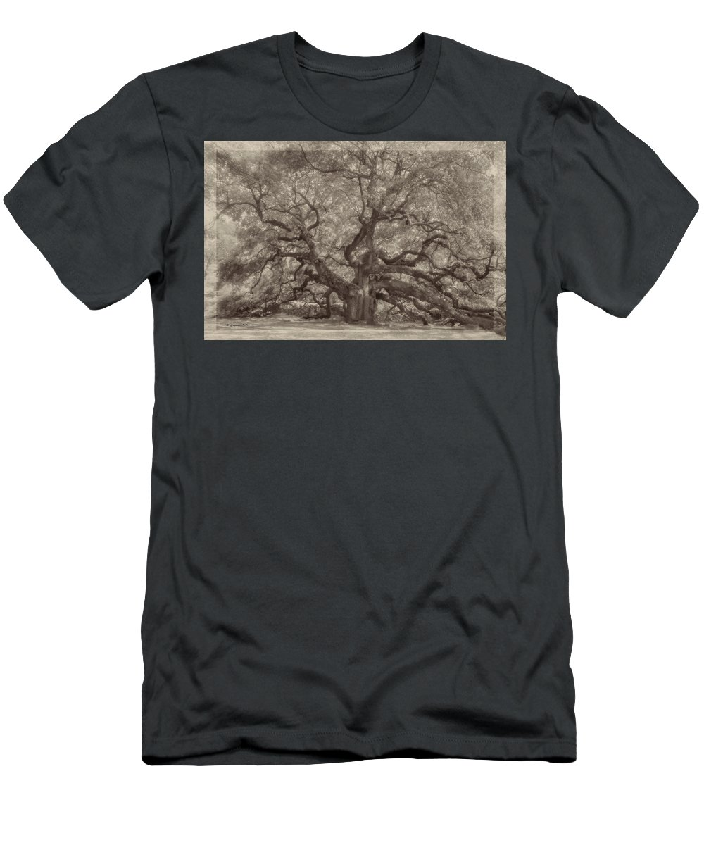 Angel Oak Men's T-Shirt (Athletic Fit) featuring the digital art Angel Oak Tree by Darlene Freas