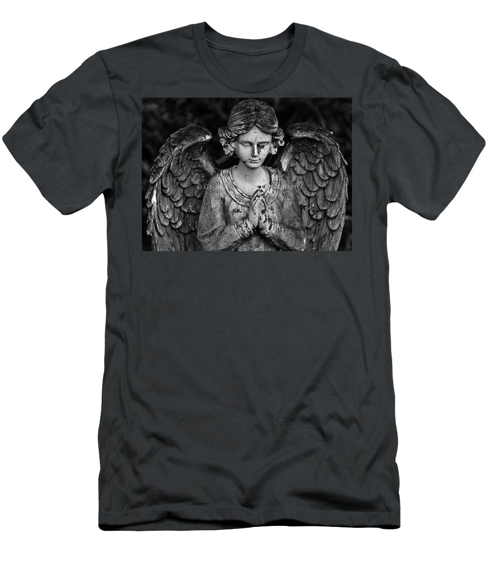Angel Men's T-Shirt (Athletic Fit) featuring the photograph Angel Praying by George Elliott