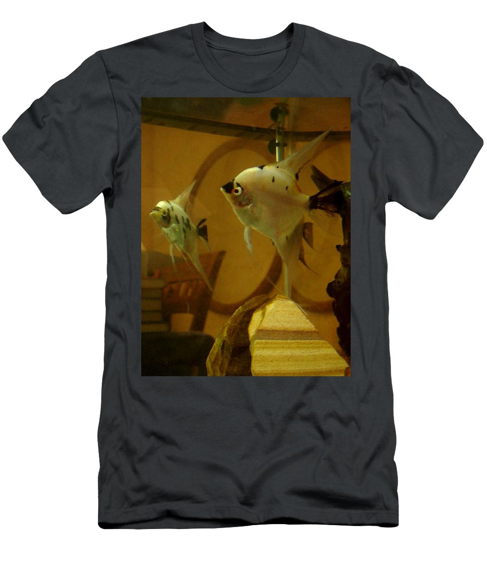 Tropical Fish Men's T-Shirt (Athletic Fit) featuring the photograph Angelfish Reflections by Sarah Houser