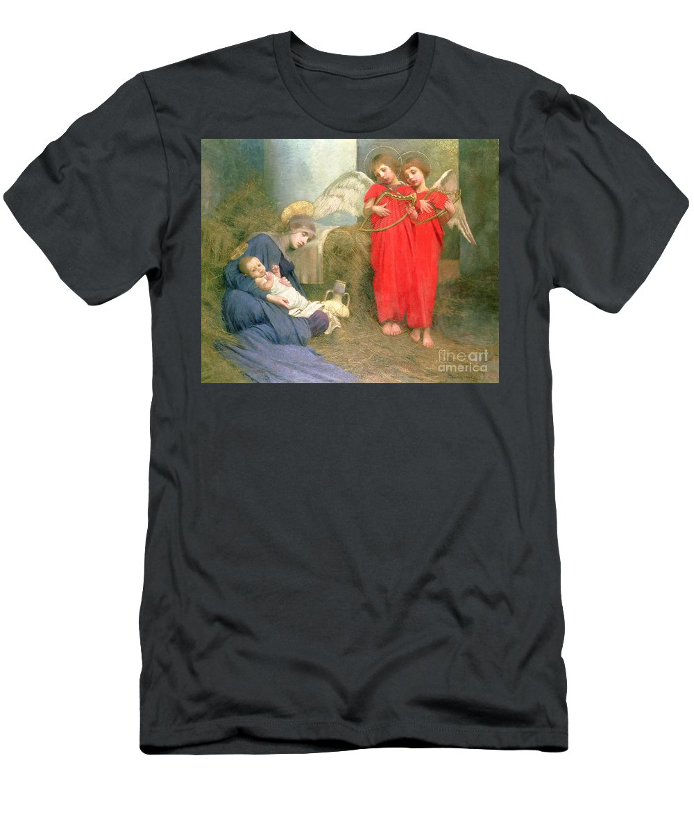 Stable; Lyre; Musical Instrument; Sleeping; Straw T-Shirt featuring the painting Angels Entertaining The Holy Child by Marianne Stokes