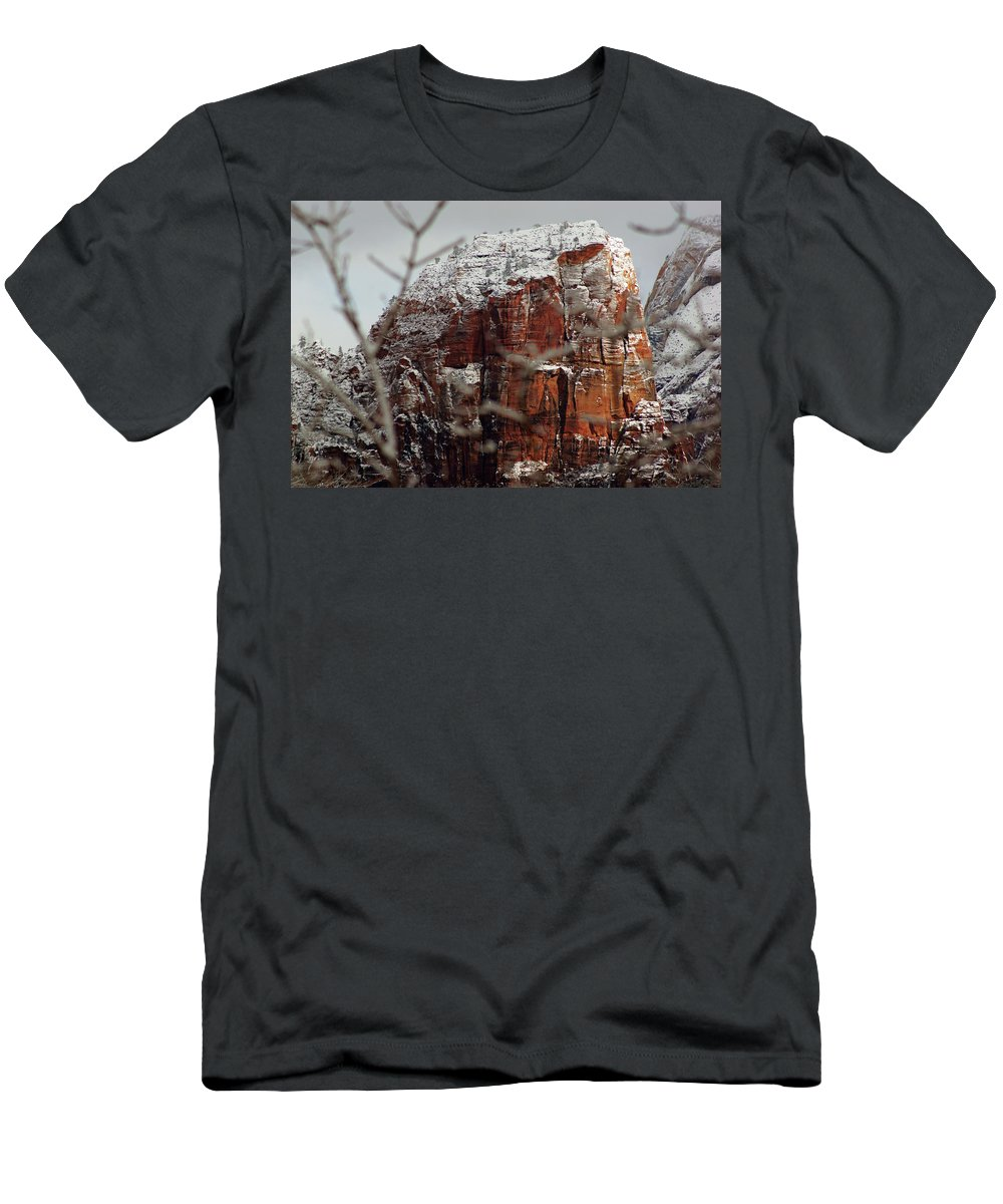 Zion Men's T-Shirt (Athletic Fit) featuring the photograph Angels Landing Under Snow by Daniel Woodrum