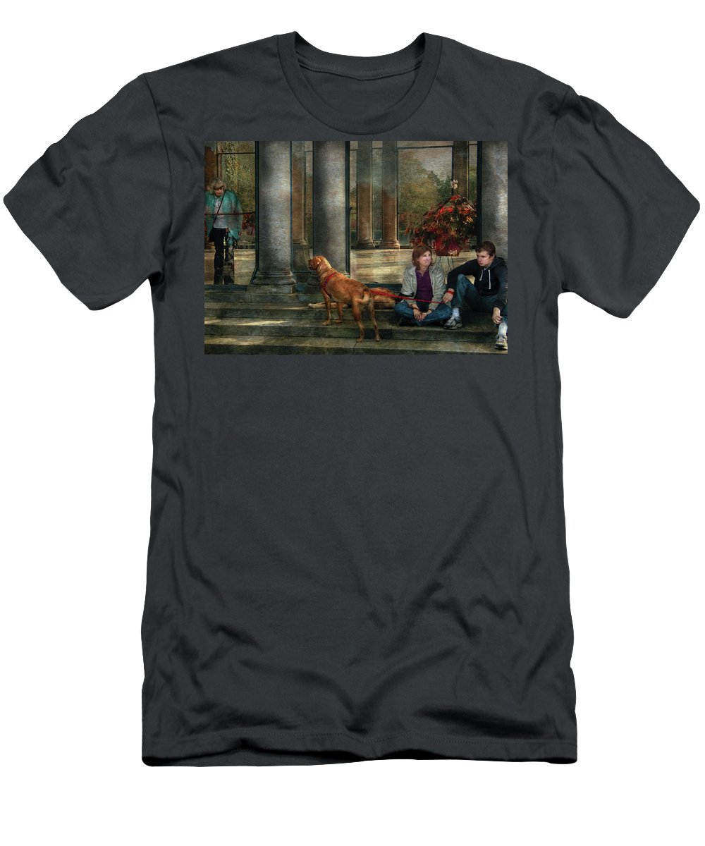Savad Men's T-Shirt (Athletic Fit) featuring the photograph Animal - Dog - Hello There by Mike Savad