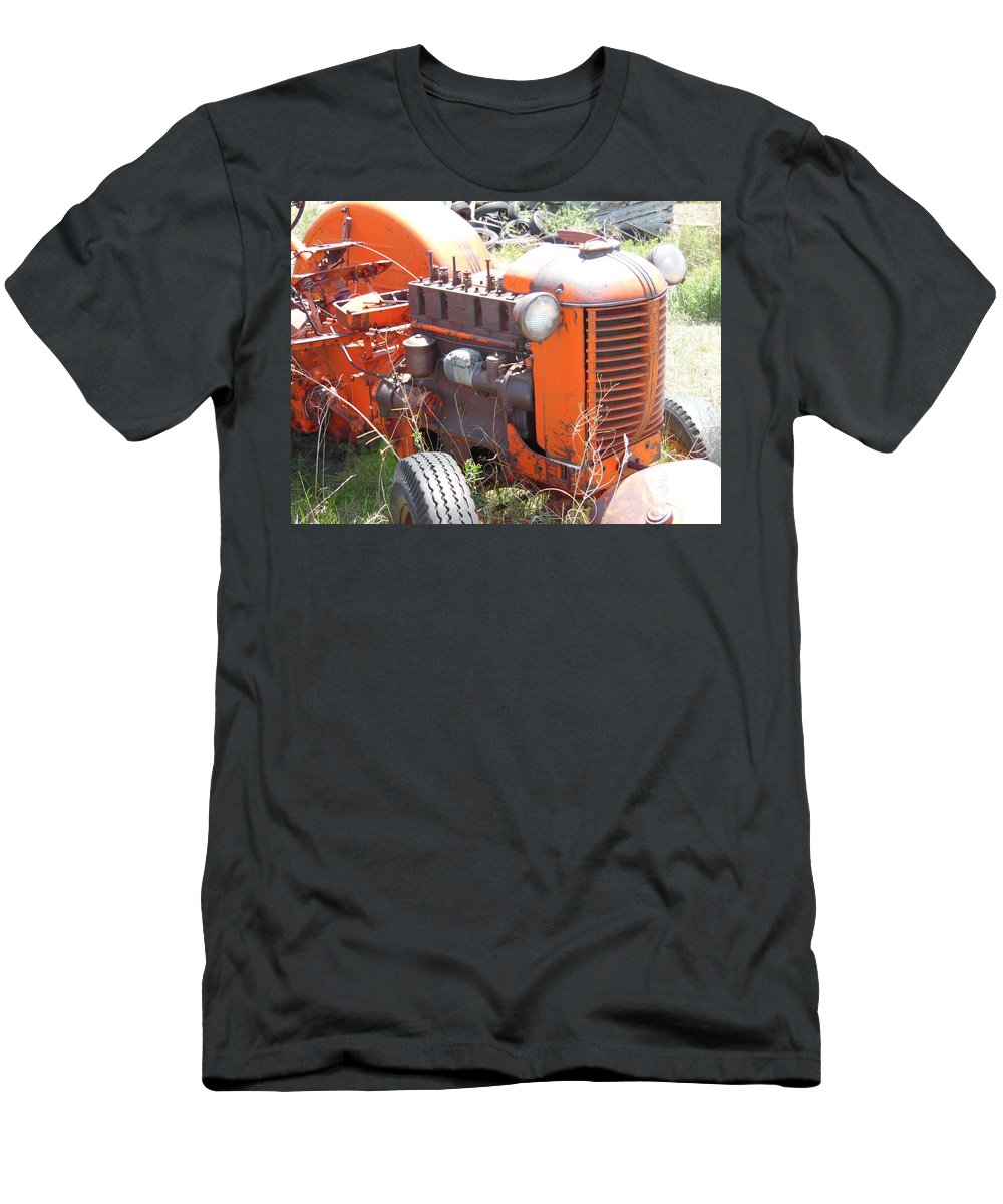 Orange Men's T-Shirt (Athletic Fit) featuring the photograph Another Angle Of Old Tractor by Pamela Pursel