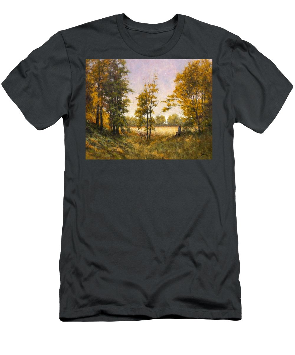 Artist Men's T-Shirt (Athletic Fit) featuring the painting Anticipation by Jim Gola