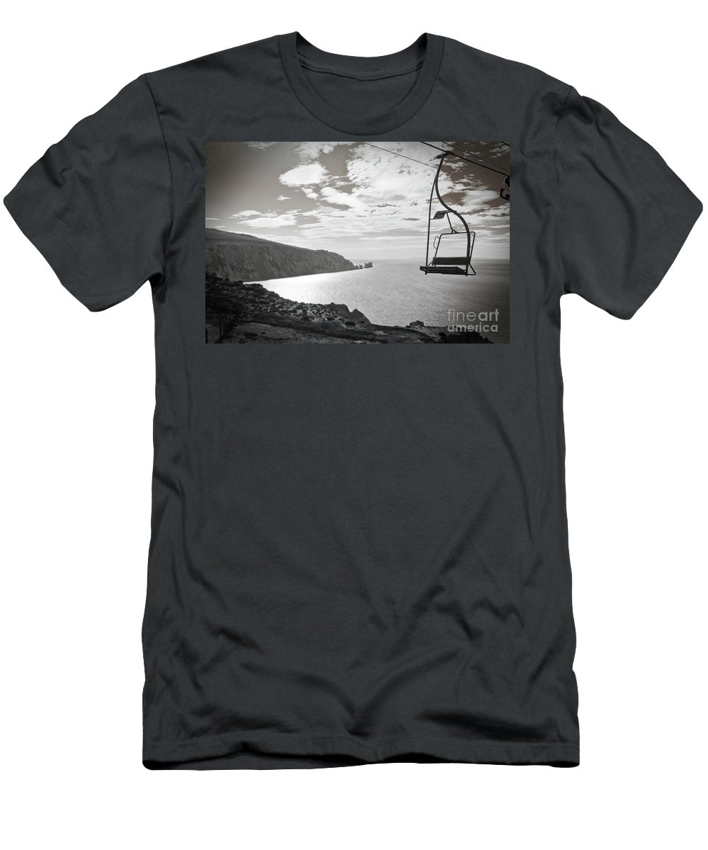 Rock Men's T-Shirt (Athletic Fit) featuring the photograph Antique Needles Isle Of Wight by Terri Waters