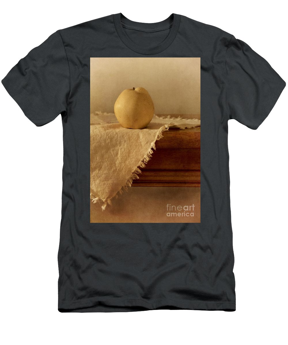 Dining Room Men's T-Shirt (Athletic Fit) featuring the photograph Apple Pear On A Table by Priska Wettstein