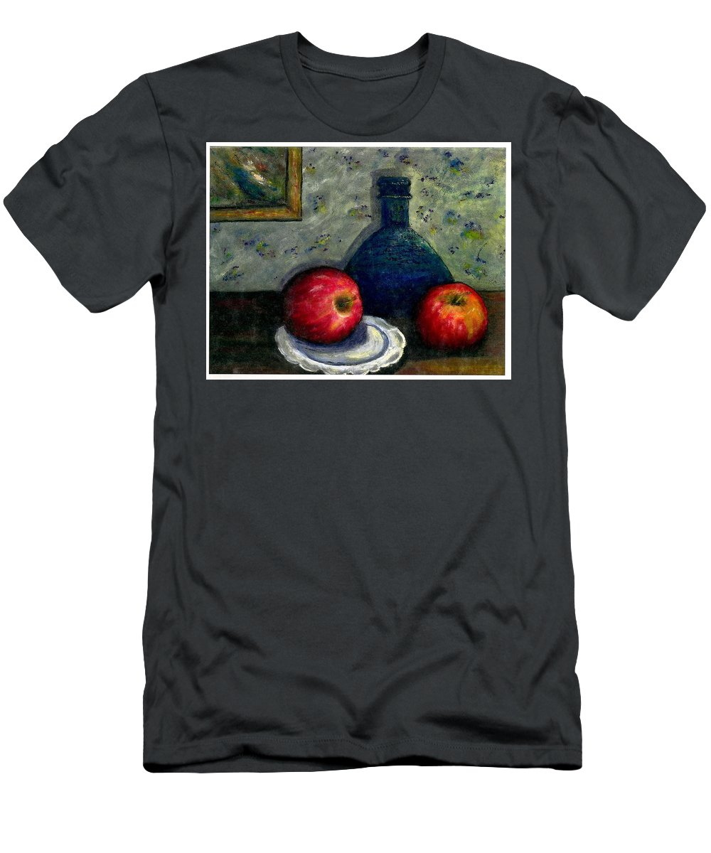 Still Life Men's T-Shirt (Athletic Fit) featuring the painting Apples And Bottles by Gail Kirtz