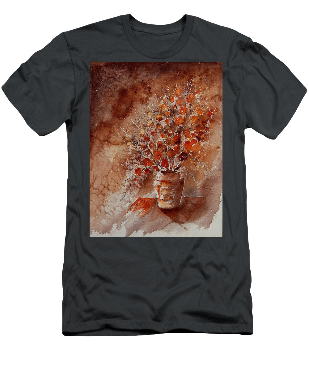 Flowers Men's T-Shirt (Athletic Fit) featuring the painting Aqua 070108 by Pol Ledent
