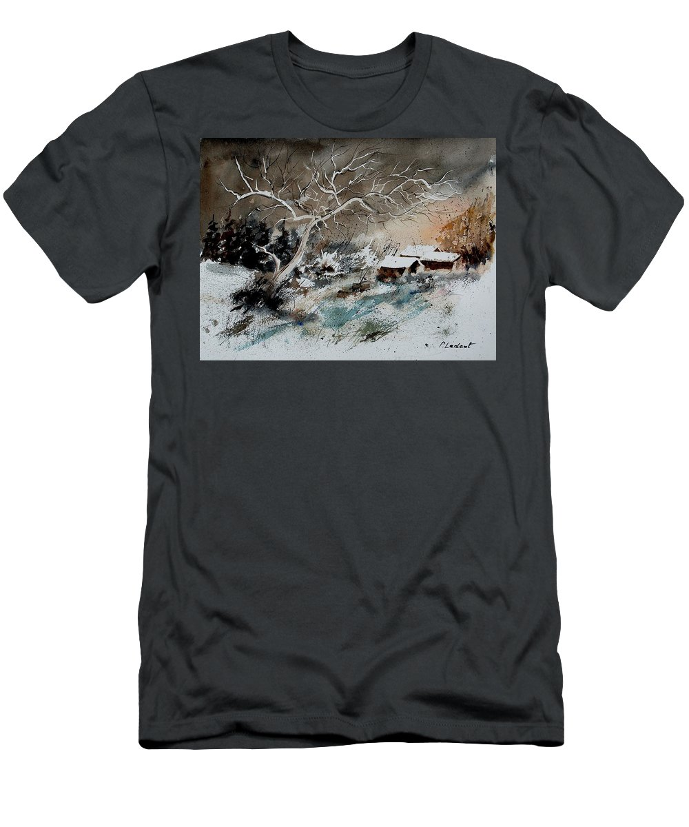 Winter Men's T-Shirt (Athletic Fit) featuring the painting Aqua 290108 by Pol Ledent