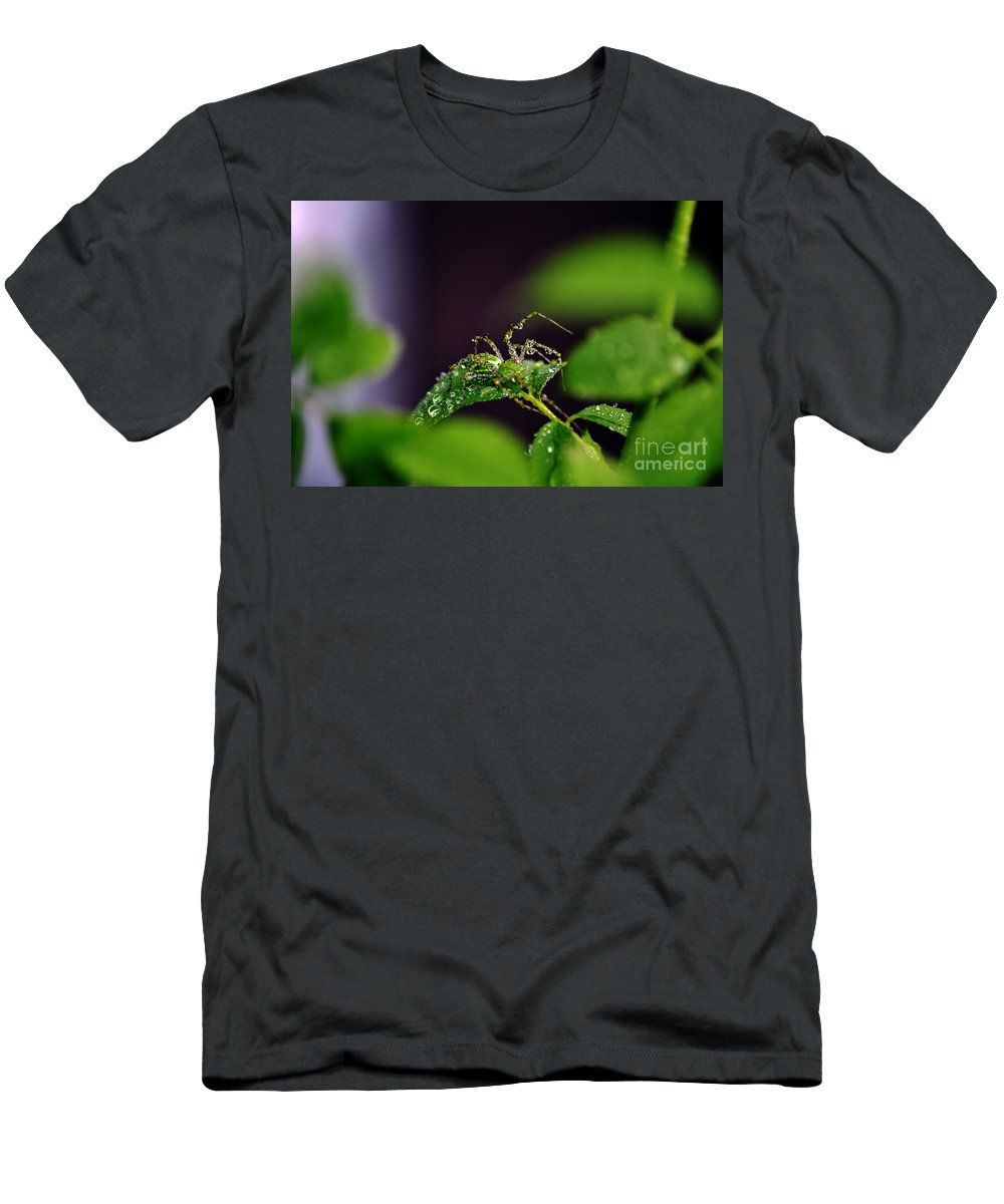 Clay Men's T-Shirt (Athletic Fit) featuring the photograph Arachnishower by Clayton Bruster