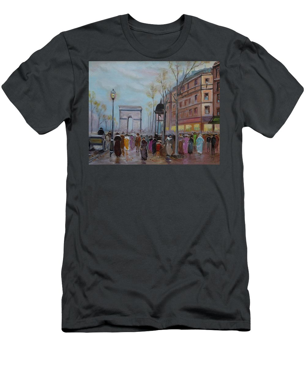 Paris Men's T-Shirt (Athletic Fit) featuring the painting Arc De Triompfe - Lmj by Ruth Kamenev