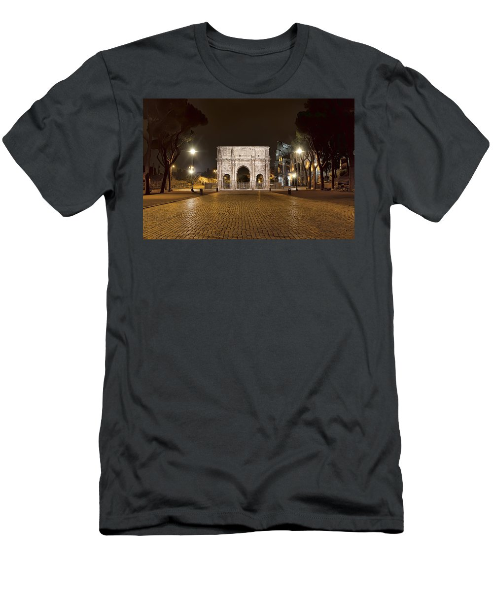 Italy Men's T-Shirt (Athletic Fit) featuring the photograph Arch At Night by Janet Fikar