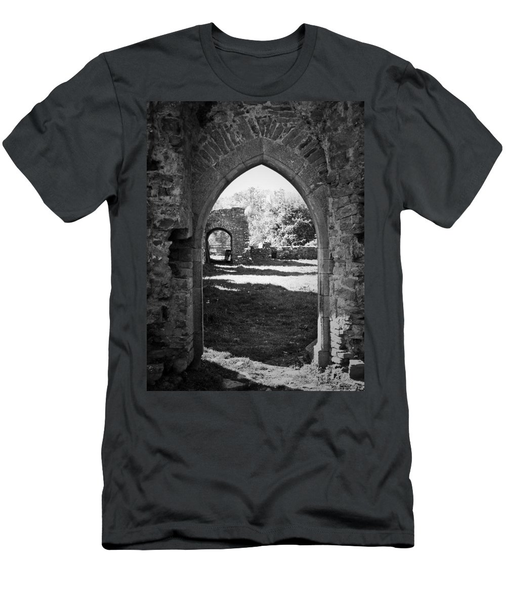 Irish Men's T-Shirt (Athletic Fit) featuring the photograph Arched Door At Ballybeg Priory In Buttevant Ireland by Teresa Mucha