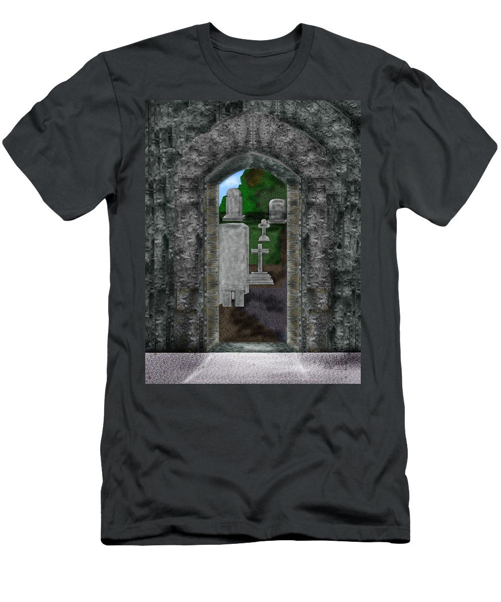 Digital Landscape Men's T-Shirt (Athletic Fit) featuring the painting Arches And Cross In Ireland by Anne Norskog