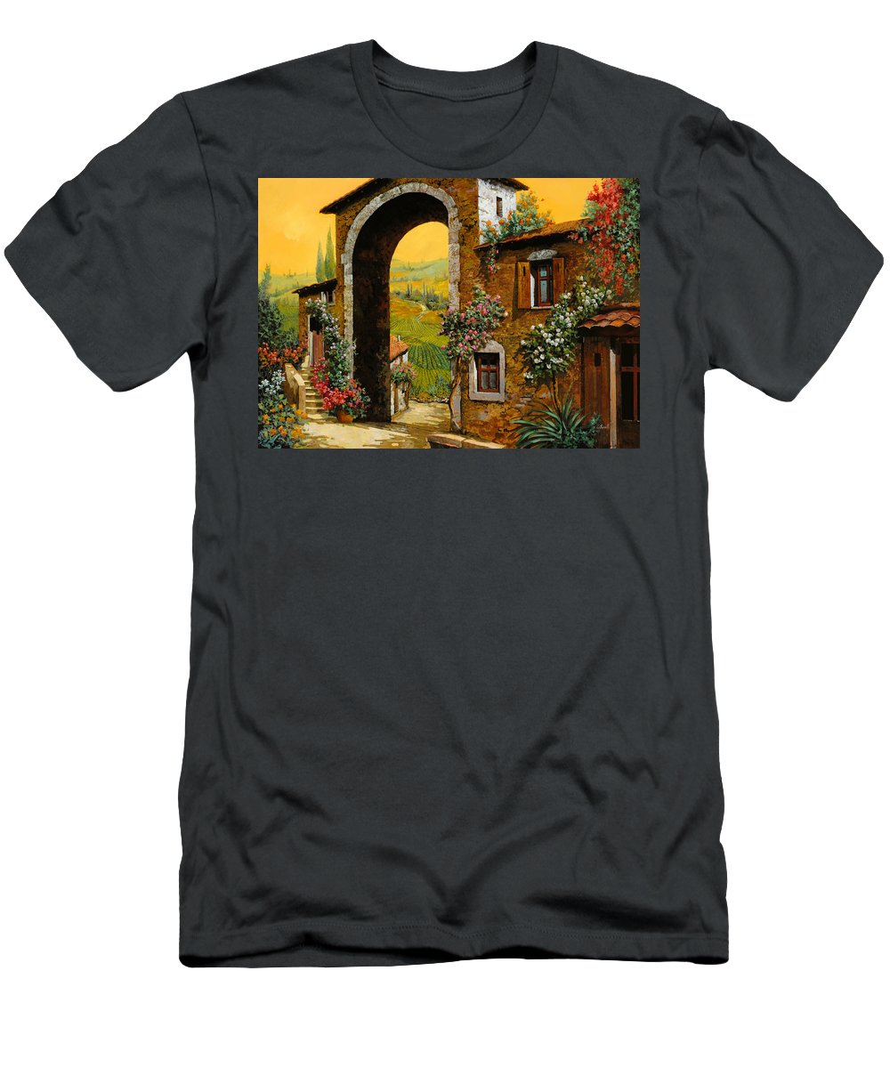 Arch Men's T-Shirt (Athletic Fit) featuring the painting Arco Di Paese by Guido Borelli