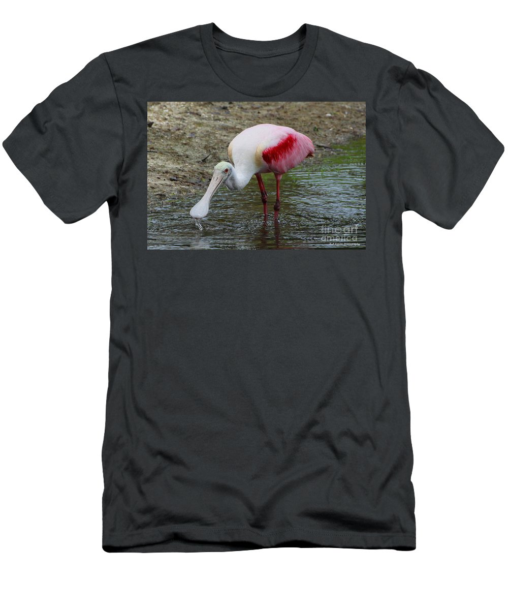 Roseate Spoonbill Men's T-Shirt (Athletic Fit) featuring the photograph Are U Looking At Me by Barbara Bowen