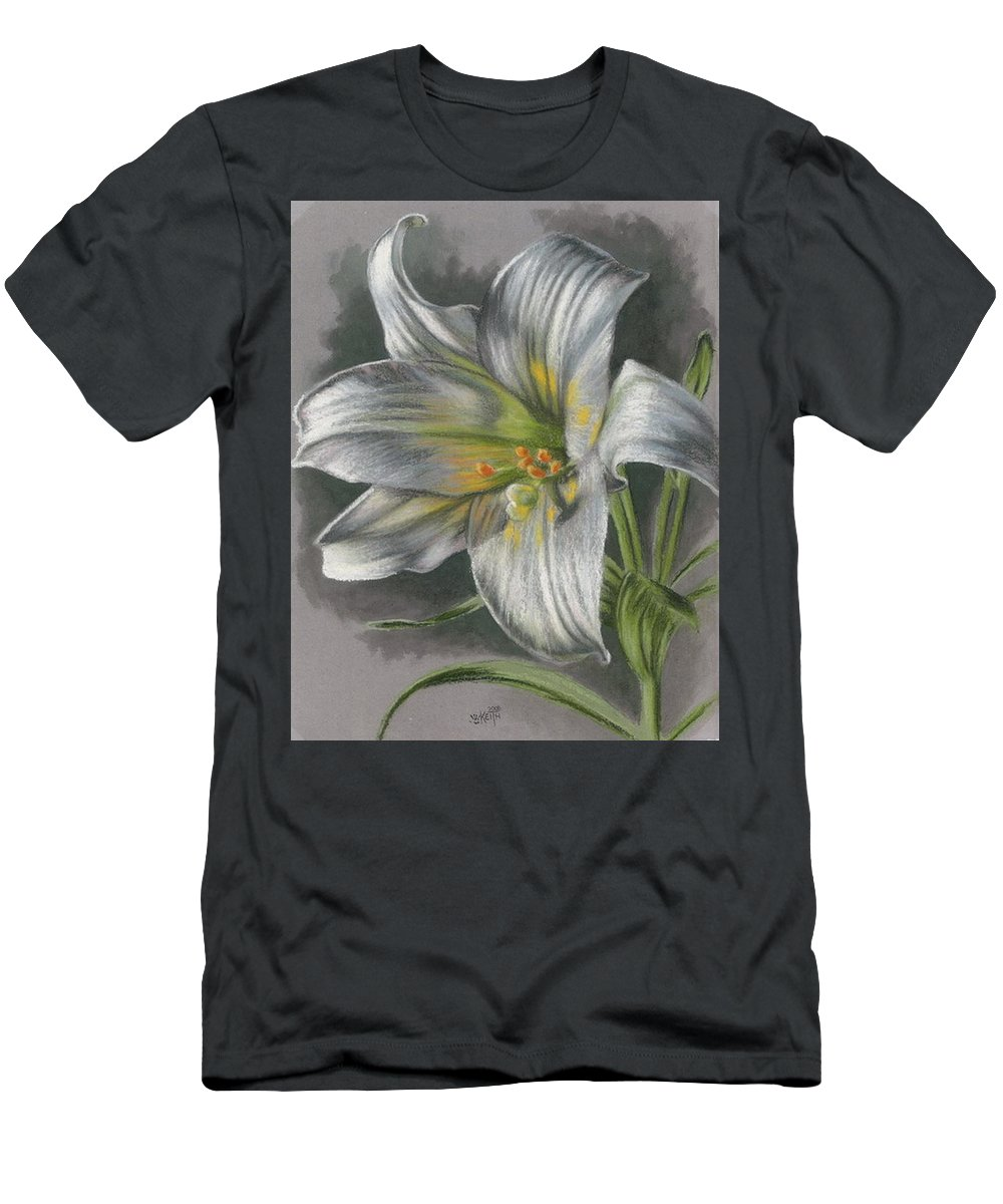 Easter Lily Men's T-Shirt (Athletic Fit) featuring the mixed media Arise by Barbara Keith