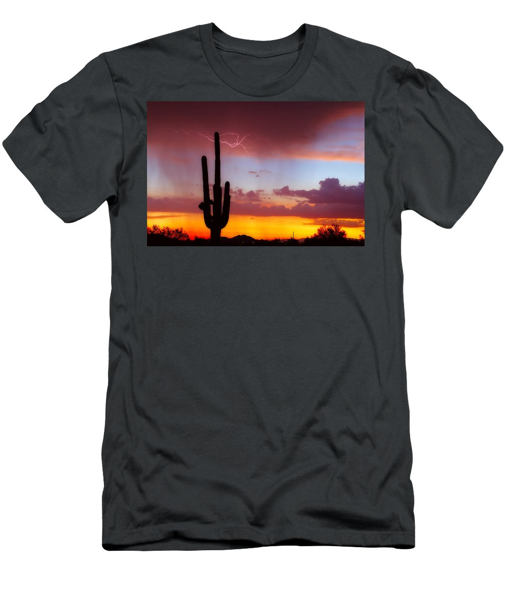 Arizona Men's T-Shirt (Athletic Fit) featuring the photograph Arizona Lightning Sunset by James BO Insogna