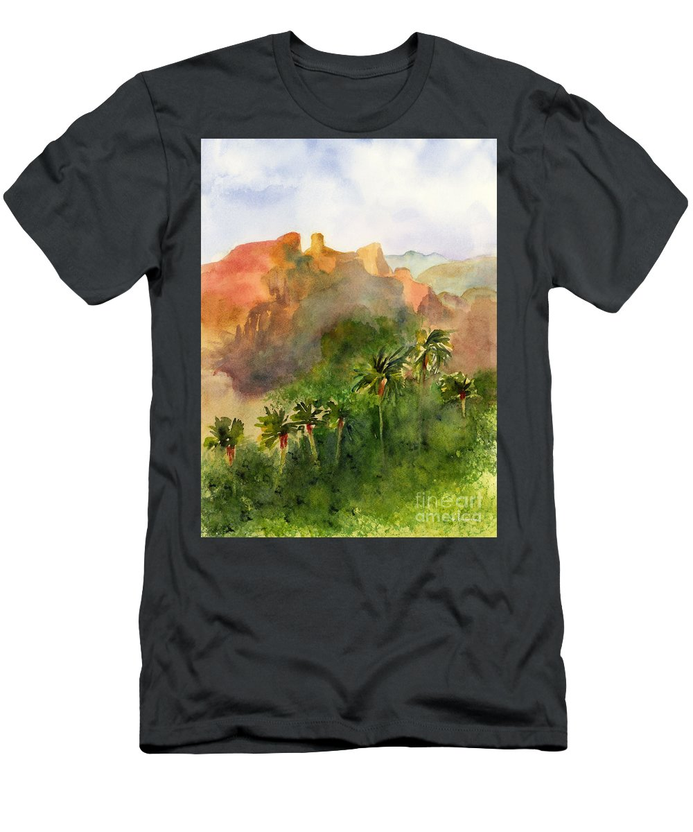 Arizona Men's T-Shirt (Athletic Fit) featuring the painting Arizona Palms by Amy Kirkpatrick
