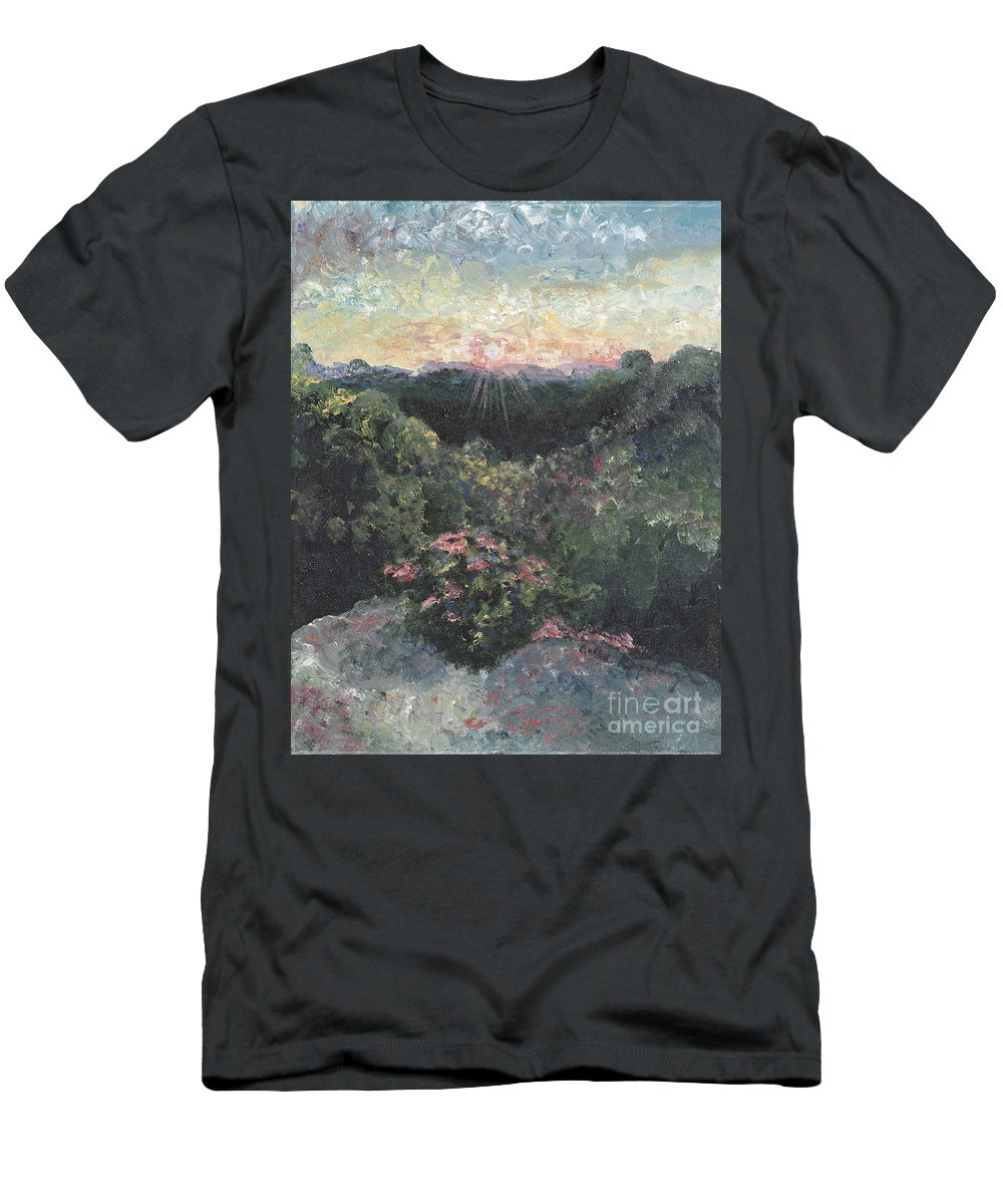 Landscape Men's T-Shirt (Athletic Fit) featuring the painting Arkansas Mountain Sunset by Nadine Rippelmeyer