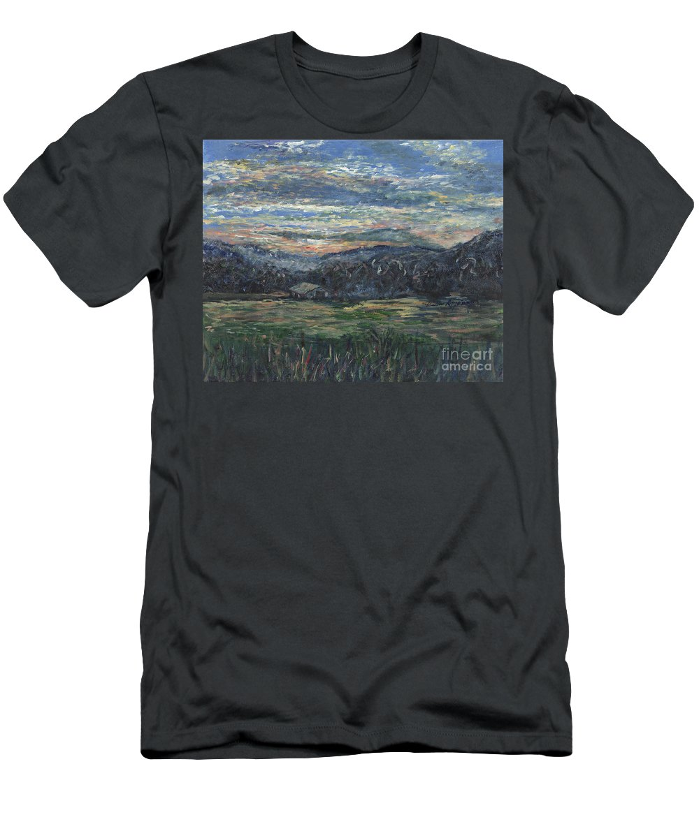 Impressionism Men's T-Shirt (Athletic Fit) featuring the painting Arkansas Sunrise by Nadine Rippelmeyer