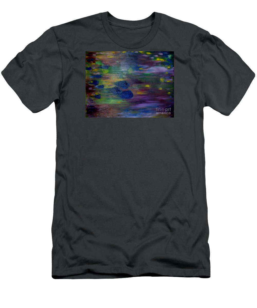 Abstract T-Shirt featuring the painting Around the Worlds by Laurie Morgan